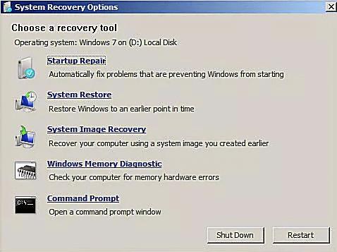 Options de récupération système