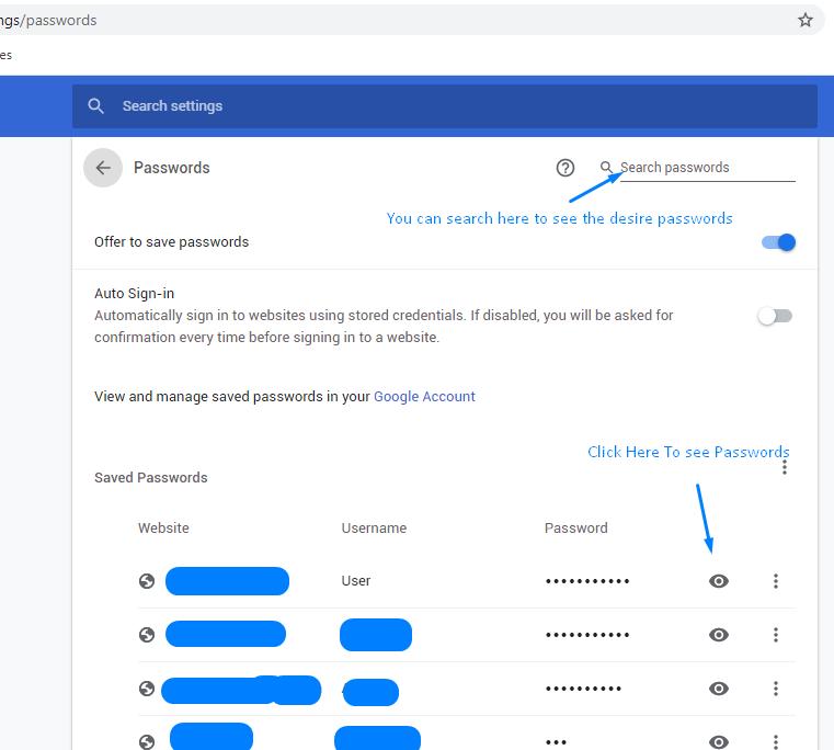 afficher le mot de passe dans Windows 10