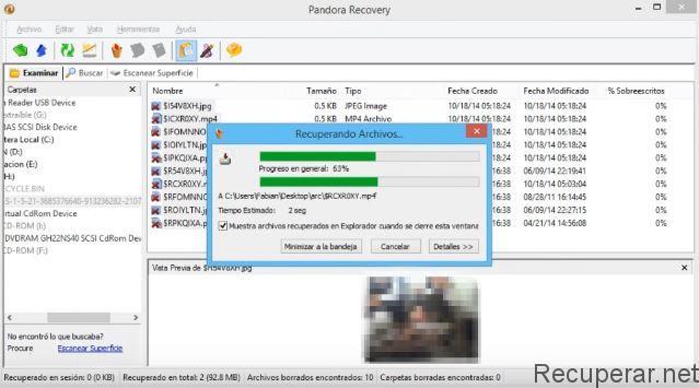 Récupération de fichiers avec pandorarecovery