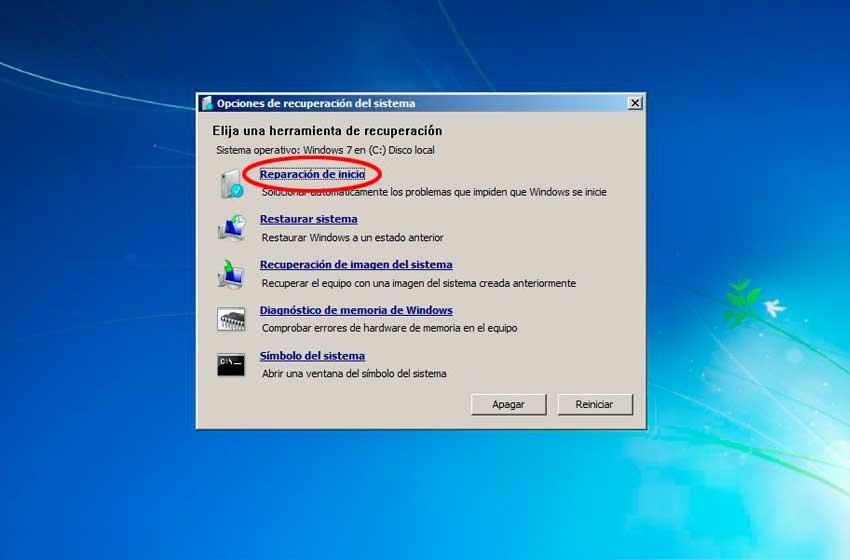 réparation de démarrage windows 7
