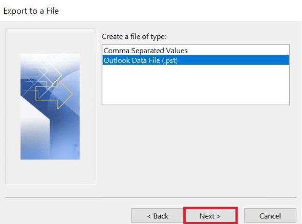 comment puis-je passer un fichier ost à pst