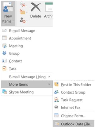 nouveau fichier de données Outlook